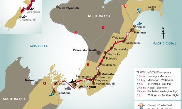 Carte des vins de l'île nord de Nouvelle-Zélande