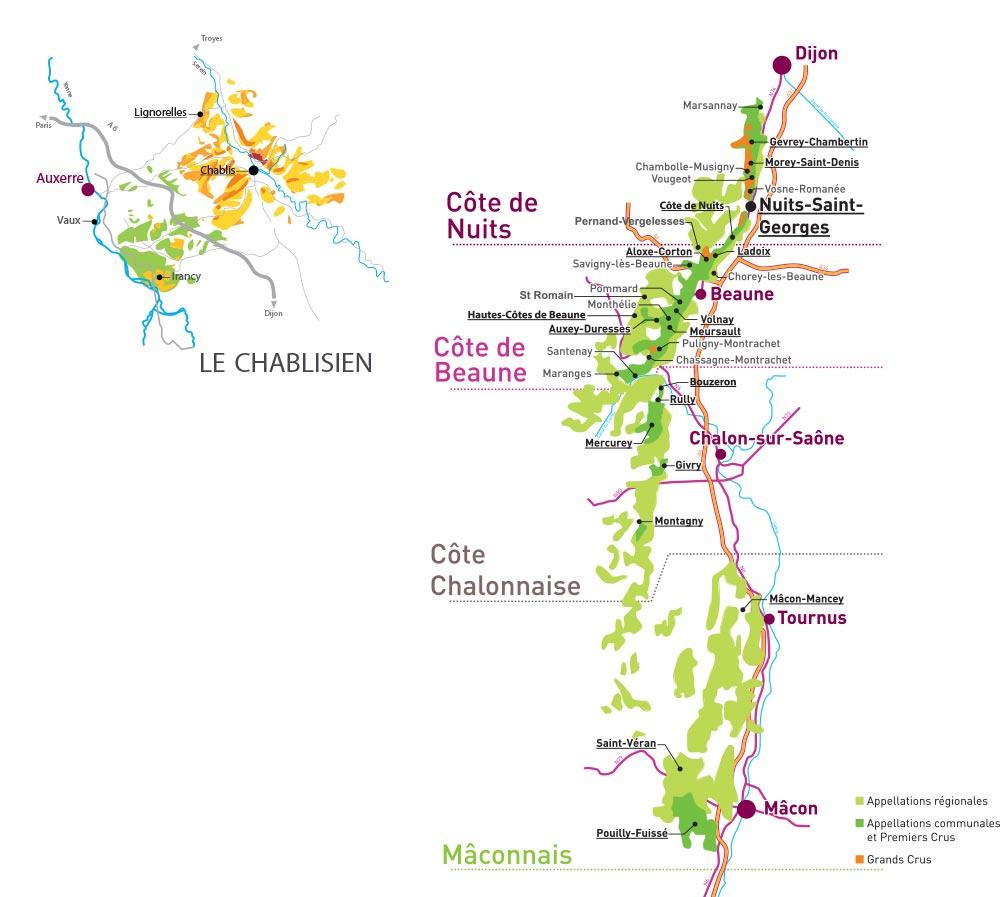 Carte Bourgogne Maranges.Les Vins De Bourgogne La Feuille De Vigne